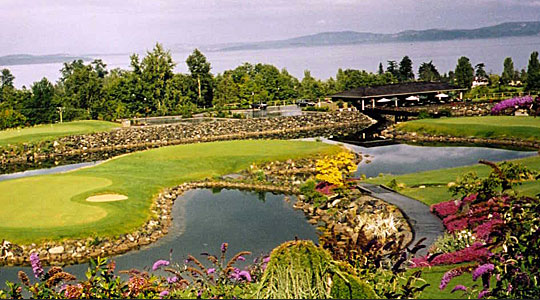 Cordova Bay Golf Course and view of the ocean